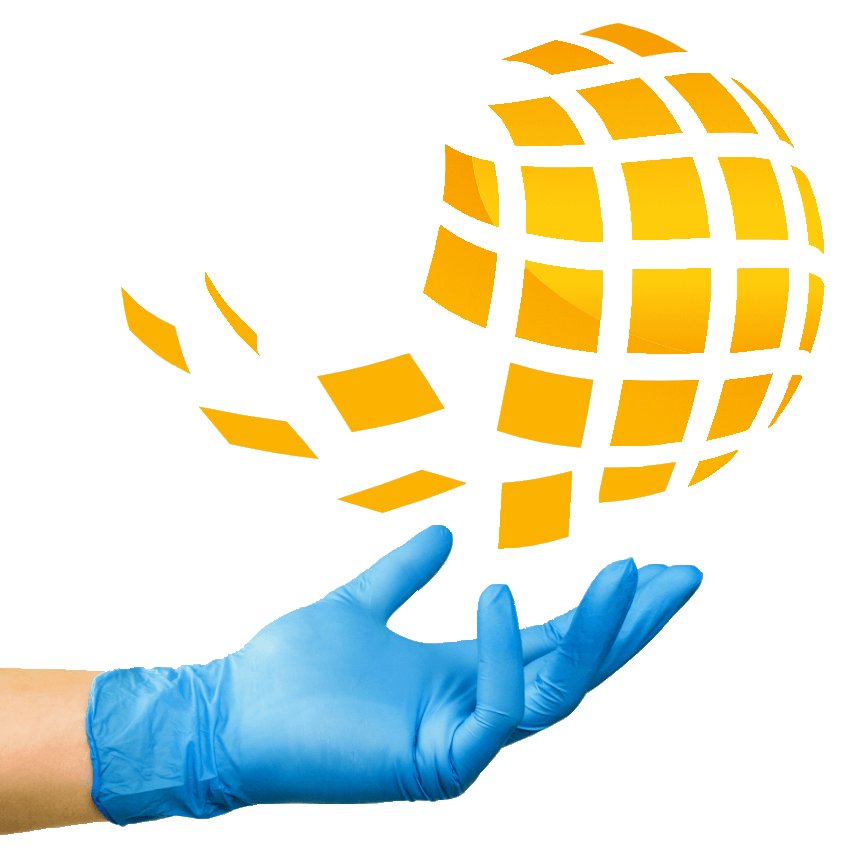 A hand in glove holding the sign of ® Global Glove Line from logotype